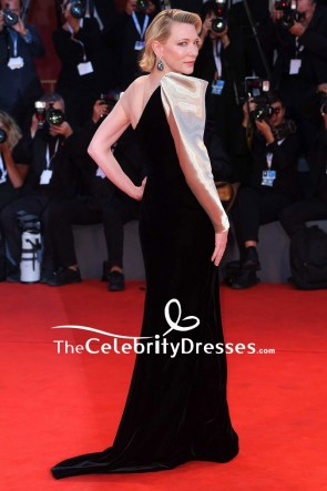 Cate Blanchett One-shoulder Gold And Black Column Evening Dress 2018 Venice Film Festival TCD8026