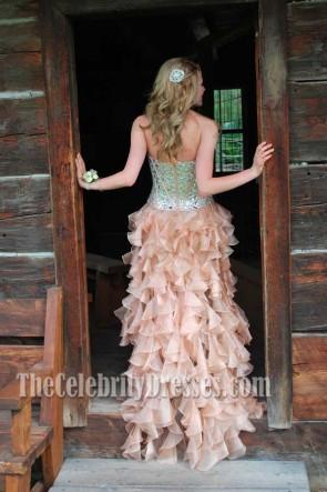 セレブ風のハイローウェディングドレスのイブニングフォーマルガウン
