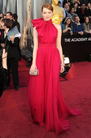 Emma Stone セレブドレスエマストーンフォーマルドレス2012オスカーレッドカーペット