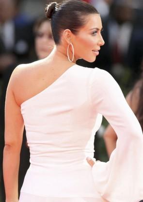 Kim Kardashian キムカーダシアン ホワイトワンスリーブプロムフォーマルドレスエミー賞2009レッドカーペット