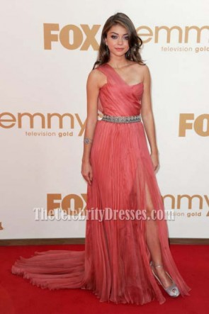 Sarah Hyland One Shoulder Prom Gown Formal Dress 2011 Emmy Awards Red Carpet Celebrity Dresses
