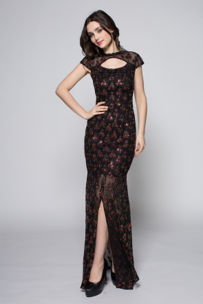 Celebrity Inspired Black Cut Out Formal Evening Dresses Prom Gown