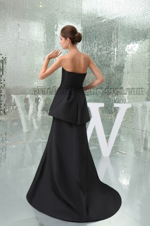 Celebrity Inspired Black Strapless Formal Dress Prom Evening Gown