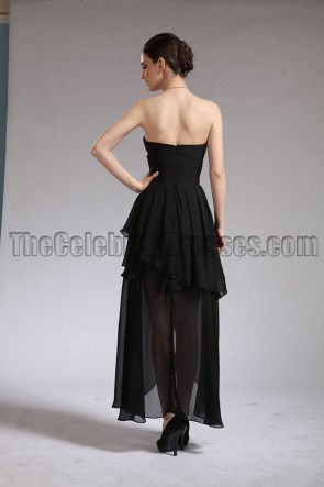 足首の長さの黒いストラップレスのウェディングドレスのイブニングドレス