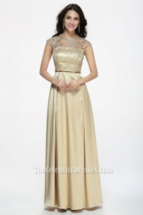 Celebrity Inspired Champagne Prom Gown Evening Dresses