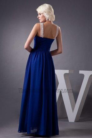 Celebrity Inspired Dark Royal Blue Chiffon Prom Dress Evening Gown