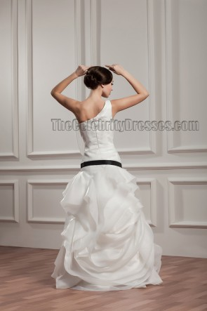 Celebrity Inspired Floor Length One Shoulder Wedding Dress