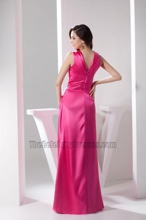 Celebrity Inspired Fuchsia V-Neck Evening Gown Prom Dresses