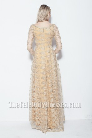 Celebrity Inspired Long Sleeve Lace Prom Gown Evening Dress TCDB103