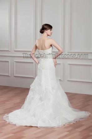 Celebrity Inspired Mermaid Strapless Organza Wedding Dress