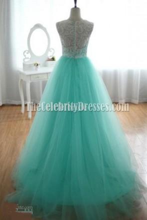 セレブ風ミントAラインウェディングドレスのイブニングドレス