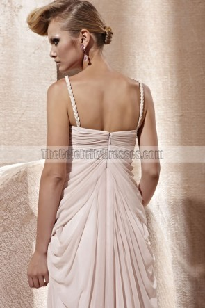Celebrity Inspired Pink Beaded Evening Dress Prom Gown