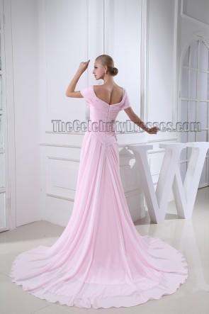 Celebrity Inspired Pink Off-the-Shoulder Formal Dress Prom Evening Gown