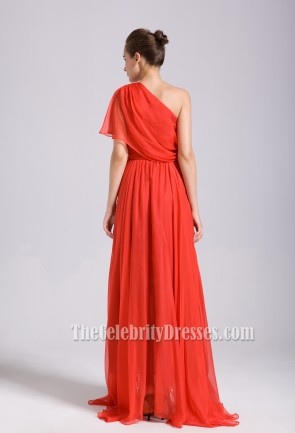 Celebrity Inspired Red One Shoulder Prom Bridesmaid Dresses