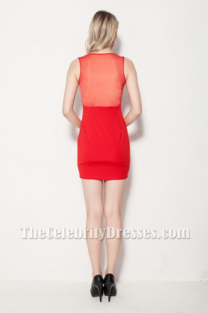 Celebrity Inspired Red Sexy Mini Party Dresses TCDB0112