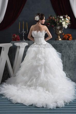 Celebrity Inspired Strapless A-Line Chapel Train Wedding Dresses