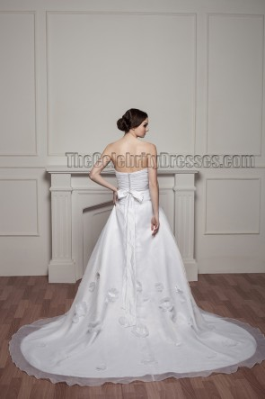 Celebrity Inspired Strapless A-Line Organza Wedding Dresses