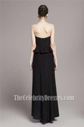 Celebrity Inspired Black Strapless Formal Evening Dresses