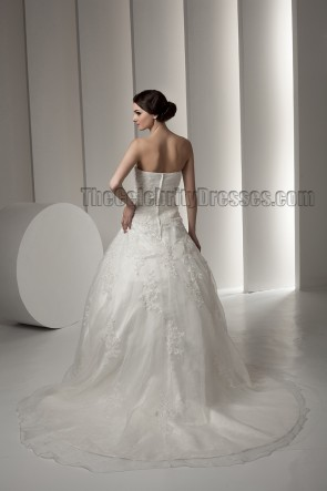 Celebrity Inspired Strapless Sweetheart A-Line Embroidered Wedding Dresses