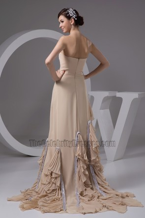 Champagne Strapless A-Line Formal Gown Prom Evening Dresses