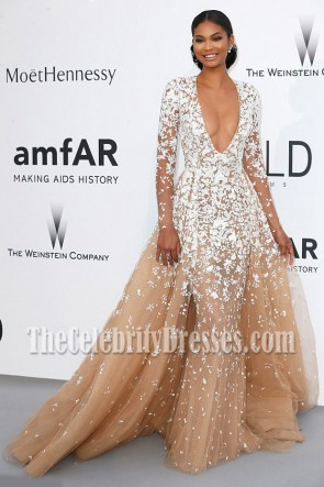 Chanel Iman Deep V-neck Long Sleeves Formal Ball Gown Cannes' amfAR Gala