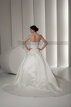 Chapel Train Strapless Embroidered A-Line Wedding Dress