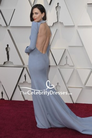 Charlize Theron Light Sky Blue Sheath Evening Dress With Long Sleeves Oscars 2019 TCD8311