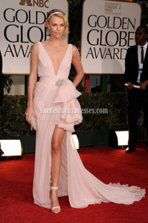 Charlize Theron Sexy Deep V-neck Prom Gown Evening Dress 2012 Golden Globes awards Red Carpet