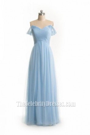 Charming Sky Blue Tulle Off-Shoulder Evening Gown Prom Dress