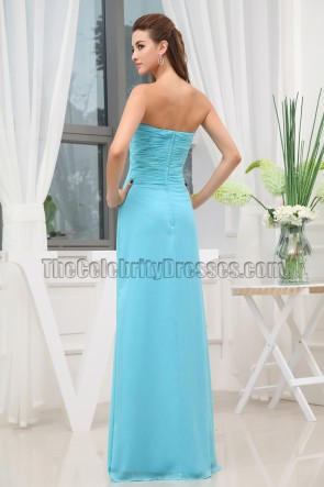 Discount Blue Chiffon Strapless Bridesmaid Prom Dresses