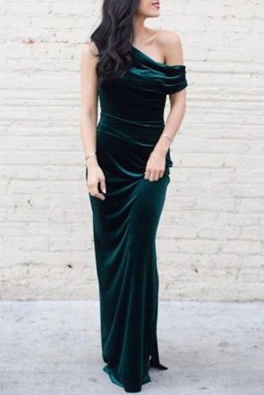 Chic Dark Green Velvet One-shoulder Bridesmaid Dress