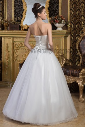 Chic Floor Length A-Line Beaded Lace Up Wedding Dresses