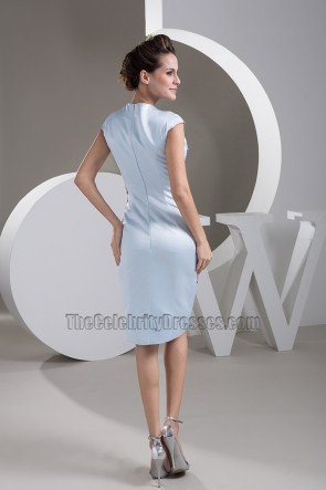 Knee Length Light Sky Blue Sequined Cocktail Party Dresses