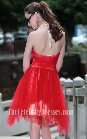 Red Halter Cocktail Party Homecoming Dresses 82678