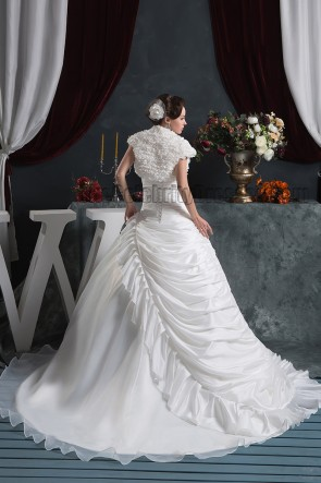 Chic Strapless A-Line Ruffles Chapel Train Lace Up Wedding Dress