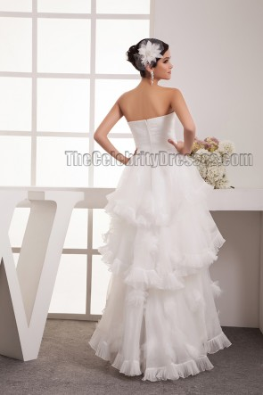Chic Sweetheart Strapless A-Line High Low Floor Length Wedding Dress