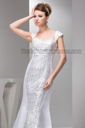 Chic Trumpet/Mermaid Sequins Cap Sleeve Wedding Dress