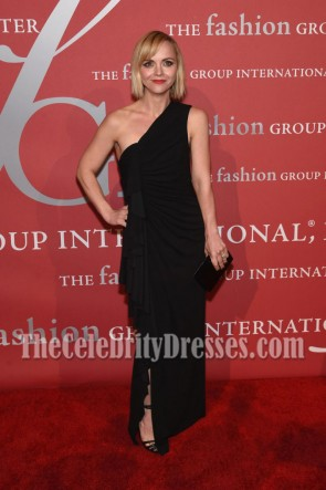Christina Ricci Black One-shoulder Evening Prom Gown  2016 Fashion Group International Night of Stars Gala  1