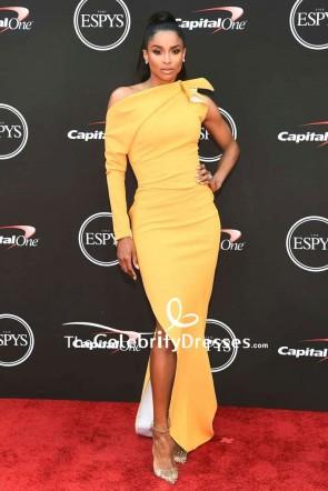 Ciara Yellow One-shoulder Thigh-high Slit Evening Dress 2018 ESPYS