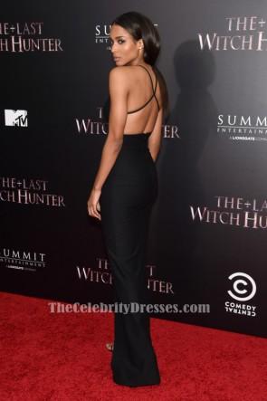 Ciara シアラセクシーブラックイブニングドレス「ラストウィッチハンター」ニューヨークプレミア