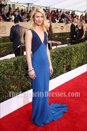 Claire Danes クレア・デーンズの青と紺のツートンカラーSAGアワード2016フォーマルドレス