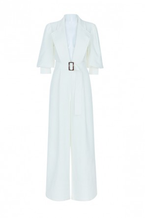 Classic White Wide-leg Belt Jumpsuit