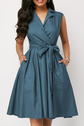 Collar Solid Wrap Dress
