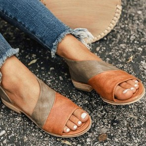 Color-block Round Open-toe Sandals Flat Heels Shoes For Women