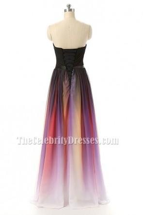 カラーグラデーションストラップレスの恋人シフォンフォーマルイブニングウエディングドレス