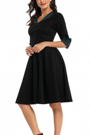 Colorblock Buttoned Homecoming Dress
