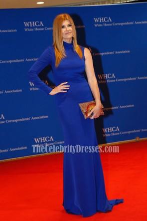 Connie Britton コニー・ブリトン ブルーのシングルスリーブロングイブニングドレス2016ホワイトハウス通信員協会ディナー