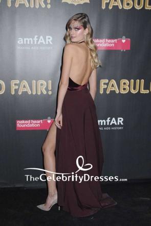 Constance Jablonskiブルゴーニュ急落ビロード腿の高いスリットホルターネックのイブニングドレス2017 amfAR素晴らしいファンドフェア