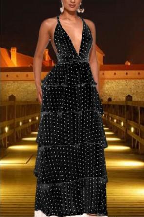 Sexy Polka Dot Layered Ruffle Dress