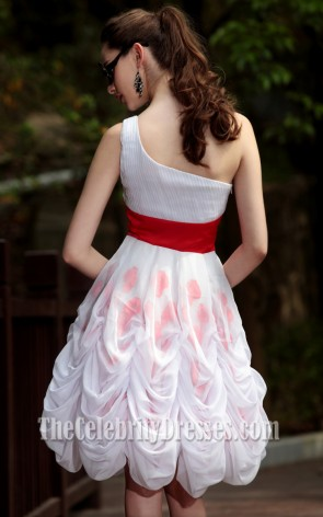 Cute A-Line Short One Shoulder Party Graduation Dresses 6026